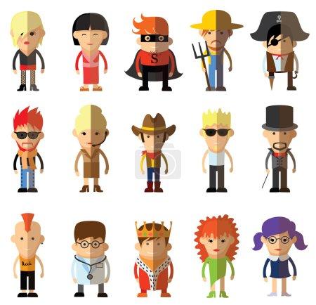 Photo pour Différents personnages de dessins animés professions jeu de caractères, vecteur - image libre de droit