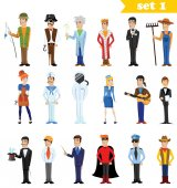 Different cartoon people professions characters set