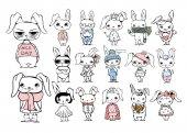 set with stylish cute rabbits
