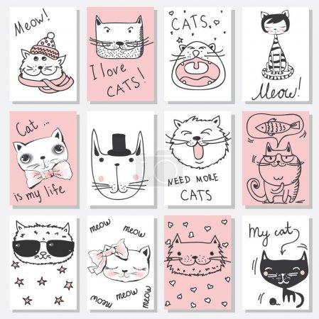 Illustration pour Cartes vectorielles avec doodle mignons chats avatars - image libre de droit