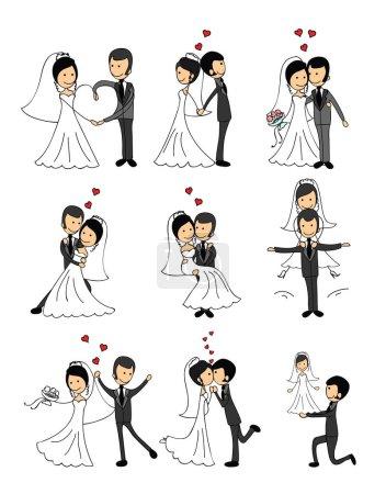 Illustration pour Mariage couple doodle amoureux. Illustration vectorielle pour carte de vœux, invitation et bannières - image libre de droit