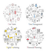 Doodle line design of web banner templates with outline icons of team work time management digital marketing financial planning