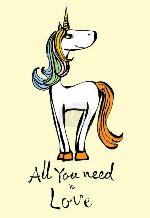 Vintage poster with stylish unicorn