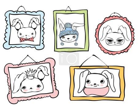 Série de portraits avatars lapin mignon