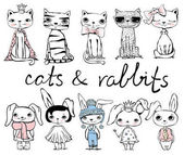 Vector set with stylish cute rabbits and cats for greeting card design t-shirt print inspiration poster