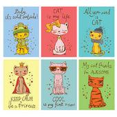 Set of stylish cats