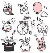 Cute rabbits doodle kid set