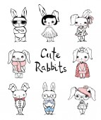 Cute rabbits doodle kid set Hand drawn design of cute rabbits perfect for kid's card banners stickers and other kid's things