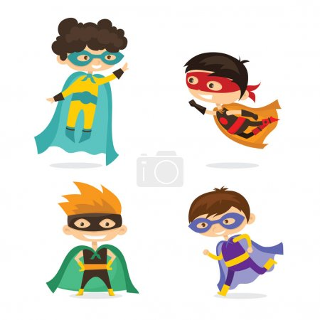 Illustration for Cartoon vector illustration of Kid Superheroes wearing comics costumes isolated on white background. - Royalty Free Image