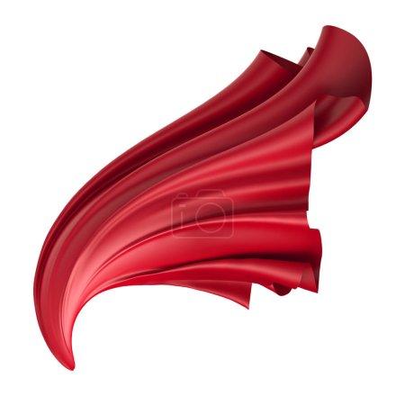 Photo pour Rendu 3d, illustration numérique, tissu plié abstrait, vol, chute, tissu planant, dévoiler, rideau rouge, couverture textile, isolé sur fond blanc - image libre de droit