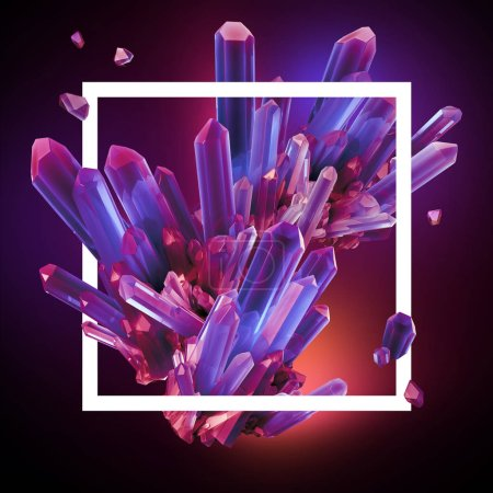 3d render, digital illustration, abstract crystals in triangle frame