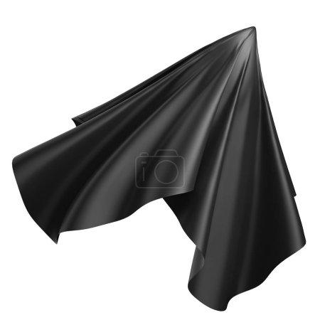 Photo pour Rendu 3d, illustration numérique, tissu plié abstrait, tissu planant, rideau noir, couverture textile, isolé sur fond blanc - image libre de droit