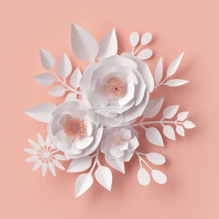 Photo pour 3d rendu, illustration numérique, fleurs en papier blanc, décor mural rose rougissant, fond floral, bouquet de mariée, mariage, piquant, carte de voeux de la Saint-Valentin - image libre de droit