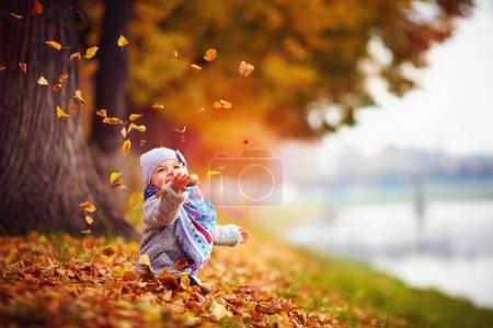 Photo for Adorable happy baby girl catching the fallen leaves, playing in the autumn park - Royalty Free Image