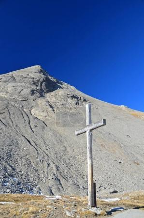 Wooden Cross on a mountain pass