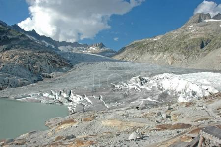 The Rhone glacier protected in part by tarpaulins