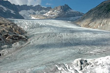 The Rhone Glacier in central Switzerland