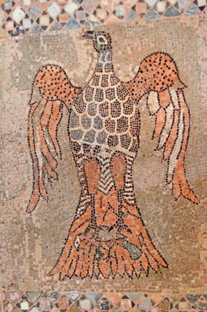 Byzantine mosaic of an eagle and a dove