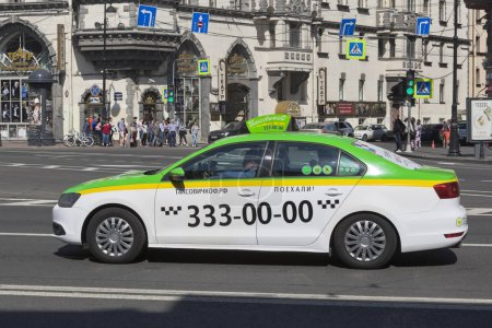 Taxi car in Lev Tolstoy Square in St. Petersburg