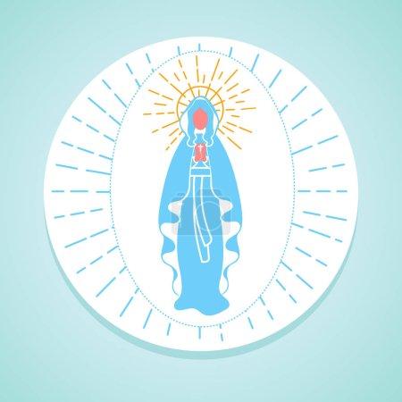 Illustration pour Carte de vœux. Vacances - Immaculée Conception de la Vierge Marie. Icône dans le style linéaire - image libre de droit