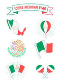Icons of the flag and the coat of arms of Mexico