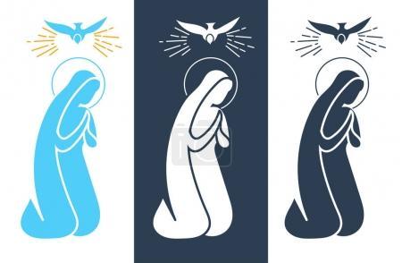 Illustration pour Icône vacances - Annonciation Vierge Marie. Icône dans le style linéaire - image libre de droit
