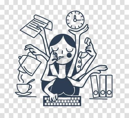 Illustration pour Le concept de l'efficacité d'une secrétaire femme au bureau, sous la forme de plusieurs mains. icône de silhouette dans le style linéaire - image libre de droit