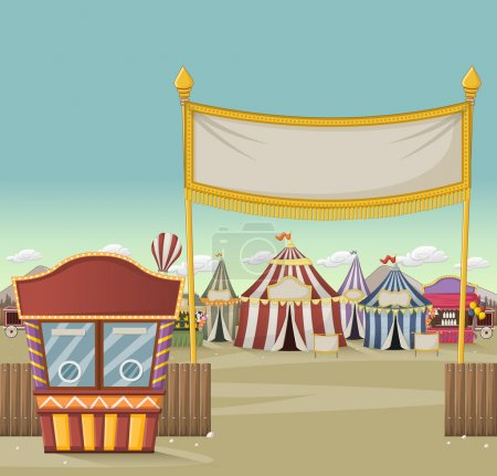 Ticket booth on the entrance of a retro cartoon circus with tents.