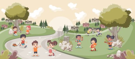 Illustration for Park with cute cartoon kids playing. Sports and recreation. - Royalty Free Image