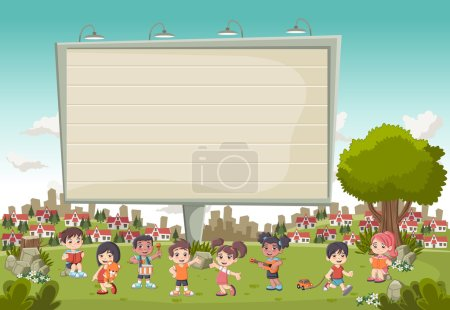 Illustration for Colorful park in the city with a big billboard and cartoon children playing. Sports and toys. - Royalty Free Image