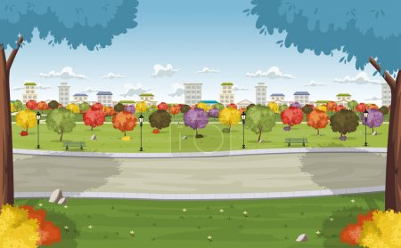 Illustration for Road on colorful park in the city - Royalty Free Image
