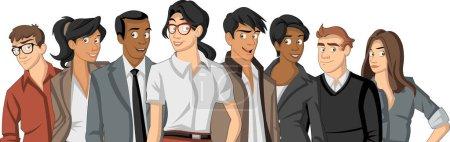 Photo pour Groupe de jeunes de dessin animé - image libre de droit