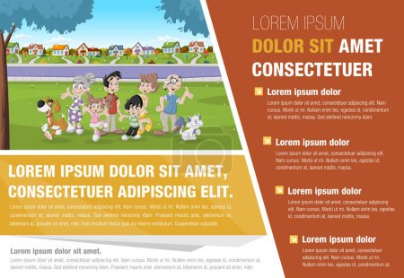 Illustration for Template for advertising brochure with cartoon family in suburb neighborhood. - Royalty Free Image
