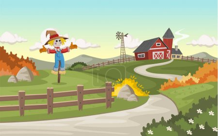 Illustration for Cartoon farm with big barn and scarecrow - Royalty Free Image