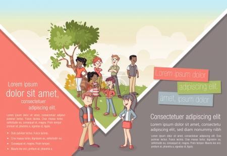 Illustration pour Modèle de brochure publicitaire avec famille de dessin animé - image libre de droit