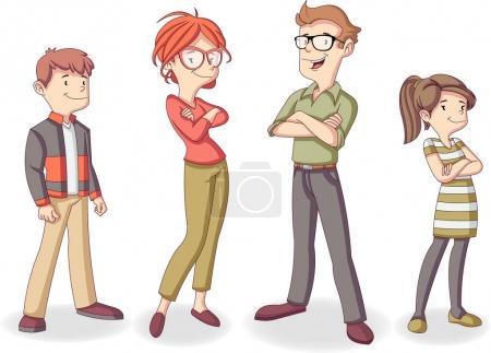 Illustration pour Des gens heureux et colorés. Famille Cartoon . - image libre de droit