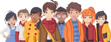 Group of cartoon fashion children