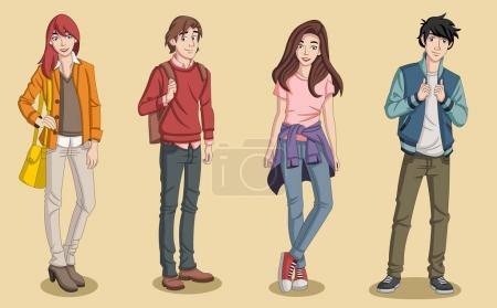 Illustration for Group of cartoon young people. Teenagers. - Royalty Free Image