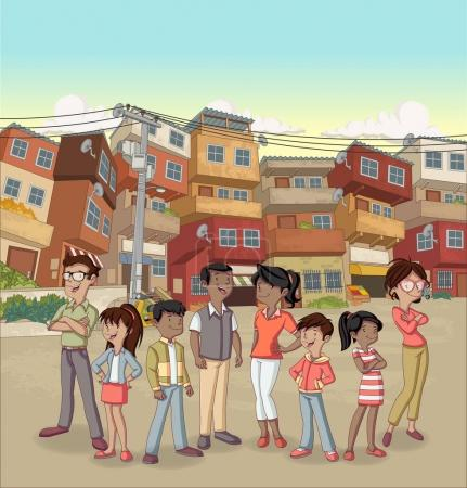 Street of poor neighborhood with cartoon happy black people