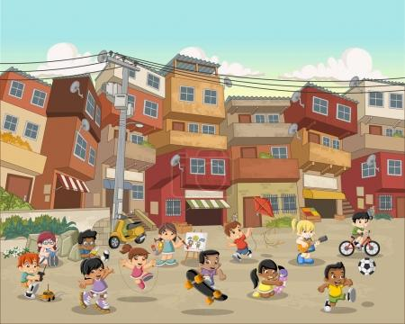 Street of poor neighborhood with cartoon children playing.