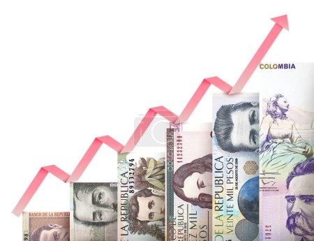 Photo for Paper money bills growing in size and value looking like a financial growth graph - Royalty Free Image