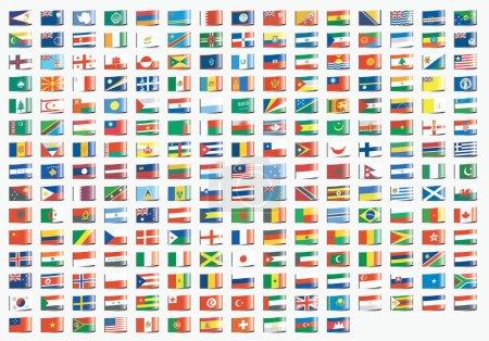Etiquetas textiles en forma de banderas ilustradas del mundo