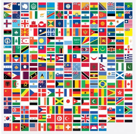 Photo for Square Shaped Illustrated Flags of the World - Royalty Free Image