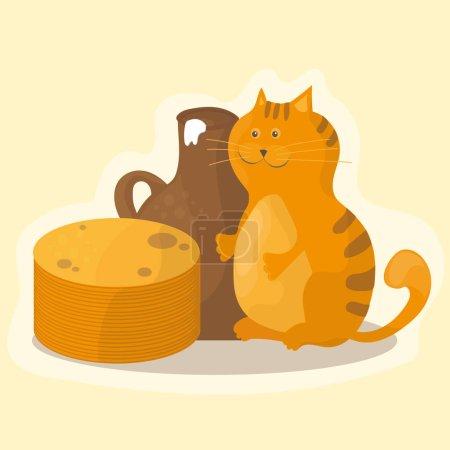 Shrovetide or Maslenitsa. Pancakes, sour cream and cat