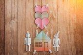 Domácí sladké domácí koncept s papírem řezat ploché styl rodiny ikonu