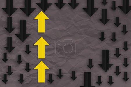 yellow arrow paper  leadership concept