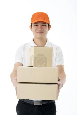 Smart asian  messenger delivery man hand hold prod...