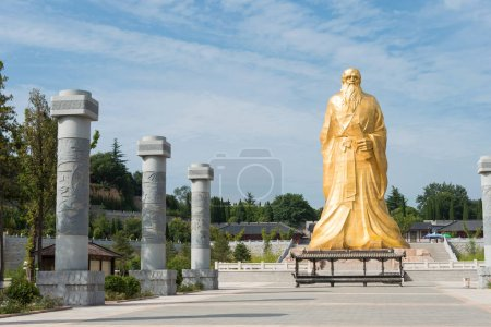 HENAN, CHINA - Aug 20 2015: Laozi Statue at Hangu Pass Scenic Area. a famous historic site in Lingbao, Henan, China.