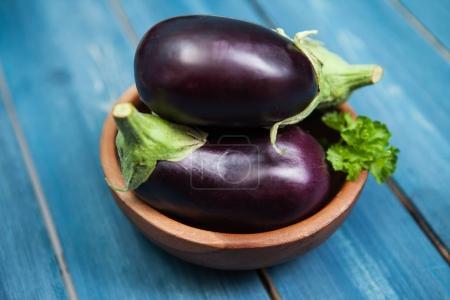Fresh healthy eggplants