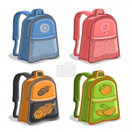 Illustration for Vector set colorful kids Backpacks, blue boys college back bag with handle, pink girl fashion rucksack with pocket, orange youth sports backpack for school, green trendy knapsack with straps for kid. - Royalty Free Image